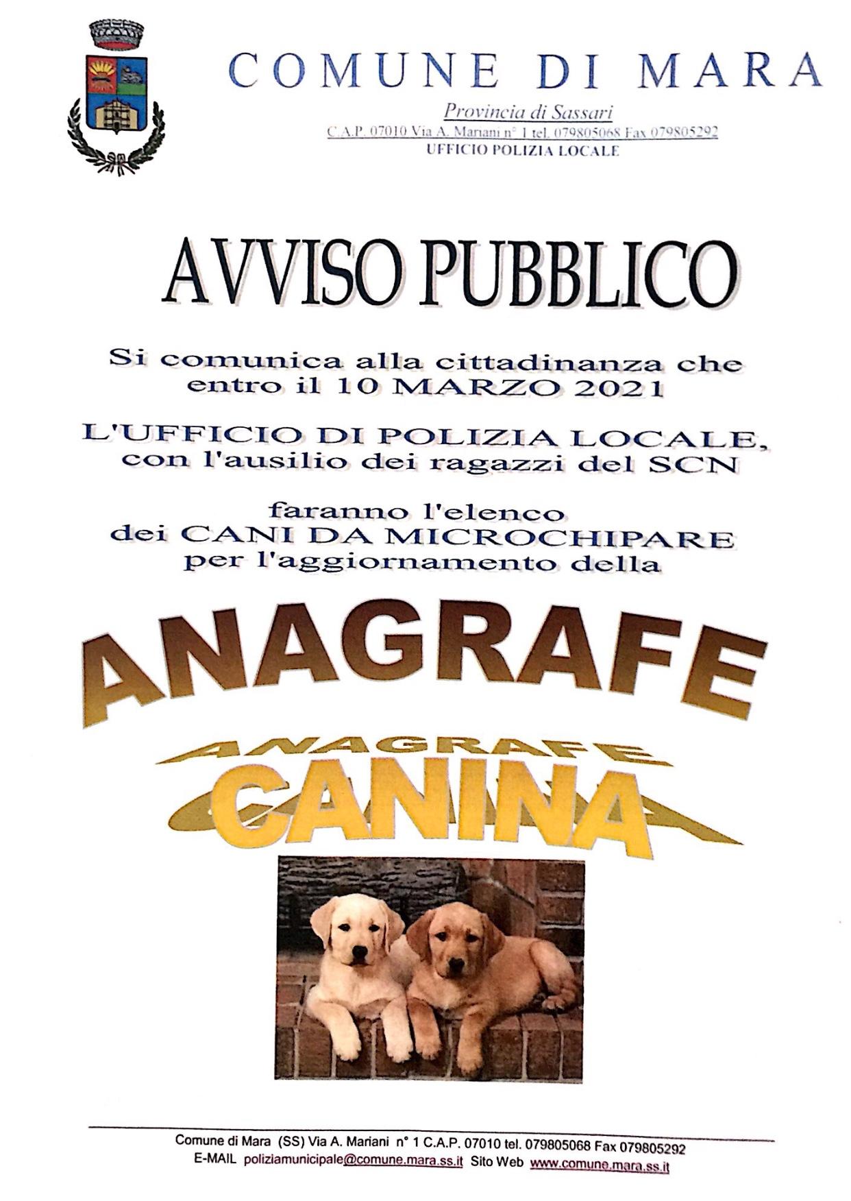 Aggiornamento anagrafe canina
